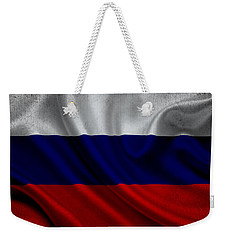 Russian Flag Waving On Canvas Weekender Tote Bag by Eti Reid