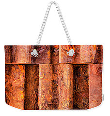 Weekender Tote Bag featuring the photograph Rusted Gears  by Jim Hughes
