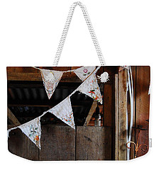 Weekender Tote Bag featuring the photograph Rustic Bunting by Jocelyn Friis
