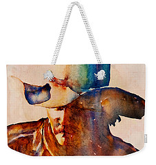 Weekender Tote Bag featuring the painting Rustic Cowboy by Jani Freimann