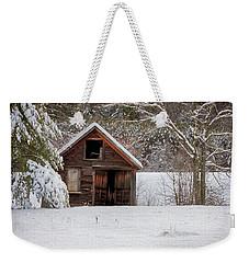 Rustic Shack In Snow Weekender Tote Bag