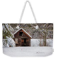 Rustic Shack In Snow Weekender Tote Bag