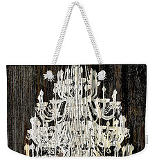 Rustic Shabby Chic White Chandelier On Wood Weekender Tote Bag by Suzanne Powers
