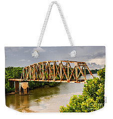 Weekender Tote Bag featuring the photograph Rusty Old Railroad Bridge by Sue Smith