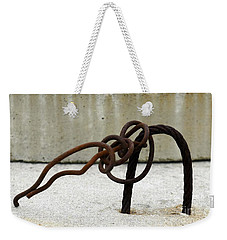 Weekender Tote Bag featuring the photograph Rusty Twisted Metal I by Lilliana Mendez