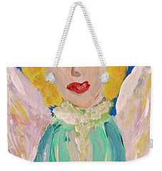 Weekender Tote Bag featuring the painting Ruth E. Angel by Mary Carol Williams