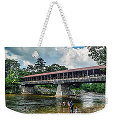 Weekender Tote Bag featuring the photograph Saco River Covered Bridge  by Debbie Green