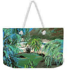 Weekender Tote Bag featuring the painting Sacred Cenote At Chichen Itza by Alys Caviness-Gober