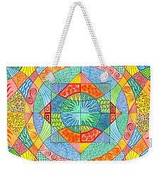 Weekender Tote Bag featuring the mixed media Sacred Geometry by Kristen Fox