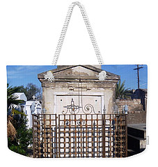 Weekender Tote Bag featuring the photograph Saddest Statue Tomb by Alys Caviness-Gober