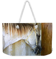 Weekender Tote Bag featuring the photograph Saddle Break by Kathy Barney