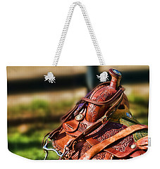 Weekender Tote Bag featuring the photograph Saddle In Waiting Western Saddle Horse by Eleanor Abramson
