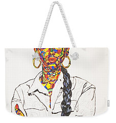 Weekender Tote Bag featuring the painting Abstract Sade  by Stormm Bradshaw