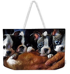 Safe In The Arms Of Love - Puppy Art Weekender Tote Bag by Jordan Blackstone