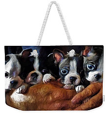 Safe In The Arms Of Love - Puppy Art Weekender Tote Bag