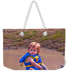Safety Is Important - Toddler In Mudpuddle Art Prints Weekender Tote Bag