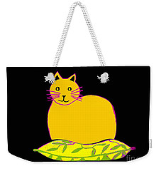 Saffron Cat On Black Weekender Tote Bag