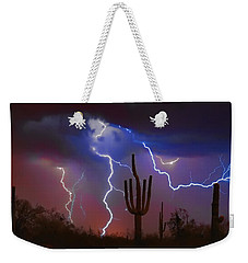 Saguaro Lightning Nature Fine Art Photograph Weekender Tote Bag