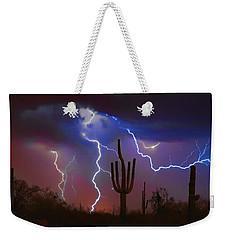 Saguaro Lightning Nature Fine Art Photograph Weekender Tote Bag