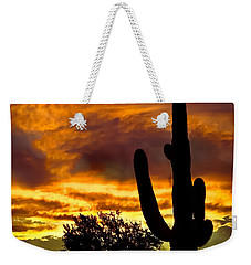 Saguaro Silhouette  Weekender Tote Bag by Robert Bales