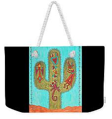 Weekender Tote Bag featuring the painting Saguaro Soiree by Susie WEBER