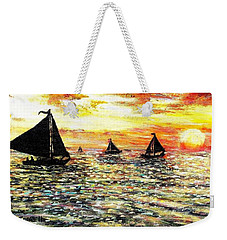 Weekender Tote Bag featuring the painting Sail Away With Me by Shana Rowe Jackson