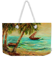 Sail Boats On Indian Ocean  Weekender Tote Bag by Sher Nasser