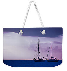 Weekender Tote Bag featuring the photograph Sailboats At Sunset by Don Schwartz