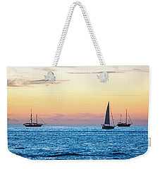 Sailboats At Sunset Off Key West Florida Weekender Tote Bag by Photographic Arts And Design Studio