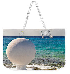 Weekender Tote Bag featuring the photograph Sailboats Racing In Cozumel by Mitchell R Grosky