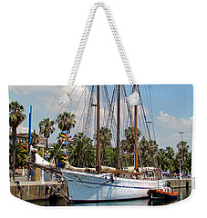 Weekender Tote Bag featuring the photograph Sailing In Barcelona by Sue Melvin
