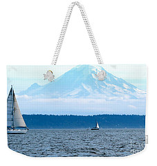 Sailing In Mt. Rainier's Shadow Weekender Tote Bag