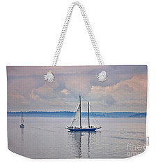 Sailing On A Misty Morning Art Prints Weekender Tote Bag by Valerie Garner
