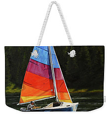 Weekender Tote Bag featuring the painting Sailing On Flathead by Kim Lockman