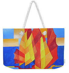 Weekender Tote Bag featuring the painting Sailing On The Seven Seas So Blue by Tracey Harrington-Simpson