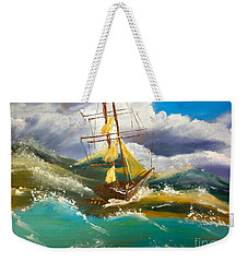 Sailing Ship In A Storm Weekender Tote Bag
