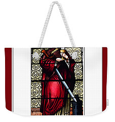 Weekender Tote Bag featuring the photograph Saint Barbara Stained Glass Window by Rose Santuci-Sofranko