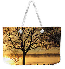 Weekender Tote Bag featuring the photograph Saint Clair Sunrise With Mist 1 by Mary Bedy