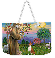 Saint Francis Blesses A Basenji Weekender Tote Bag