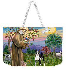 Saint Francis Blesses A Black And White Basenji Weekender Tote Bag