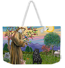 Saint Francis Blesses A Black Chinese Shar Pei Weekender Tote Bag
