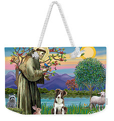 Saint Francis Blesses A Brown And White Border Collie Weekender Tote Bag