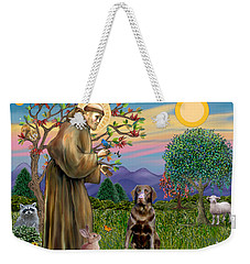 Saint Francis Blesses A Chocolate Labrador Retriever Weekender Tote Bag