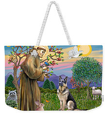 Saint Francis Blesses A German Shepherd Weekender Tote Bag
