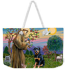 Saint Francis Blesses A Rottweiler Weekender Tote Bag