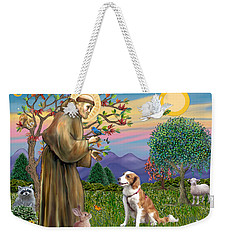 Saint Francis Blesses A Welsh Springer Spaniel Weekender Tote Bag