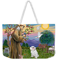 Saint Francis Blesses An English Bulldog Weekender Tote Bag