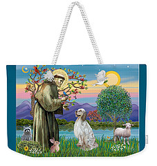 Saint Francis Blesses An English Setter Weekender Tote Bag