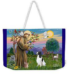 Saint Francis Blesses An English Springer Spaniel Weekender Tote Bag