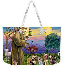 Saint Francis Blesses Seven Yorkies Weekender Tote Bag